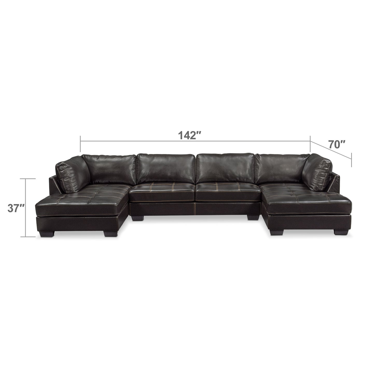 Living Room Furniture - Santana 3-Piece Sectional - Black