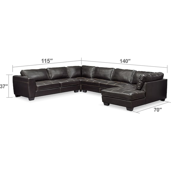 Living Room Furniture - Santana 4-Piece Sectional with Right-Facing Chaise - Black