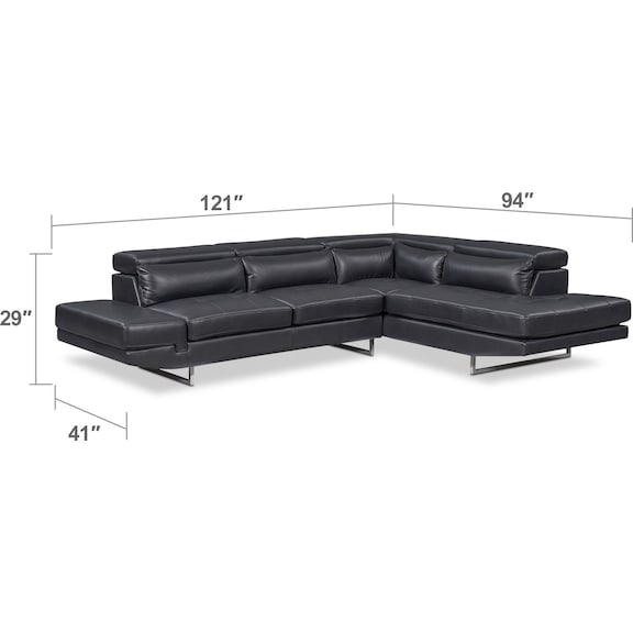 Living Room Furniture - Torino 2-Piece Sectional with Chaise and Cocktail Ottoman Set