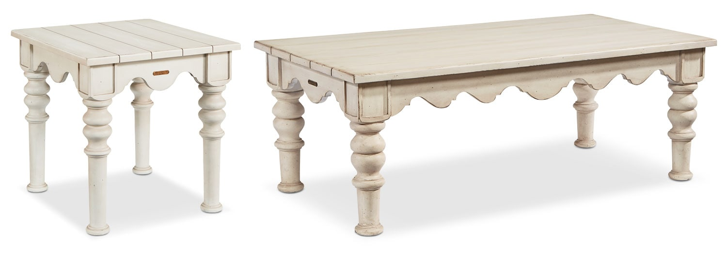 The Farmhouse Scallop Table Collection - Antique White