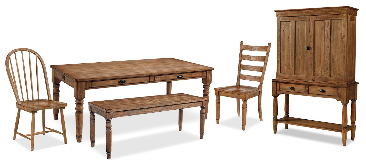 The Primitive Taper Turned Dining Room - Bench