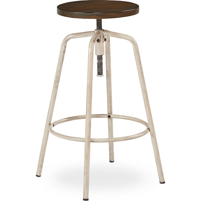 Accent and Occasional Furniture - Factory Stool - Antique White