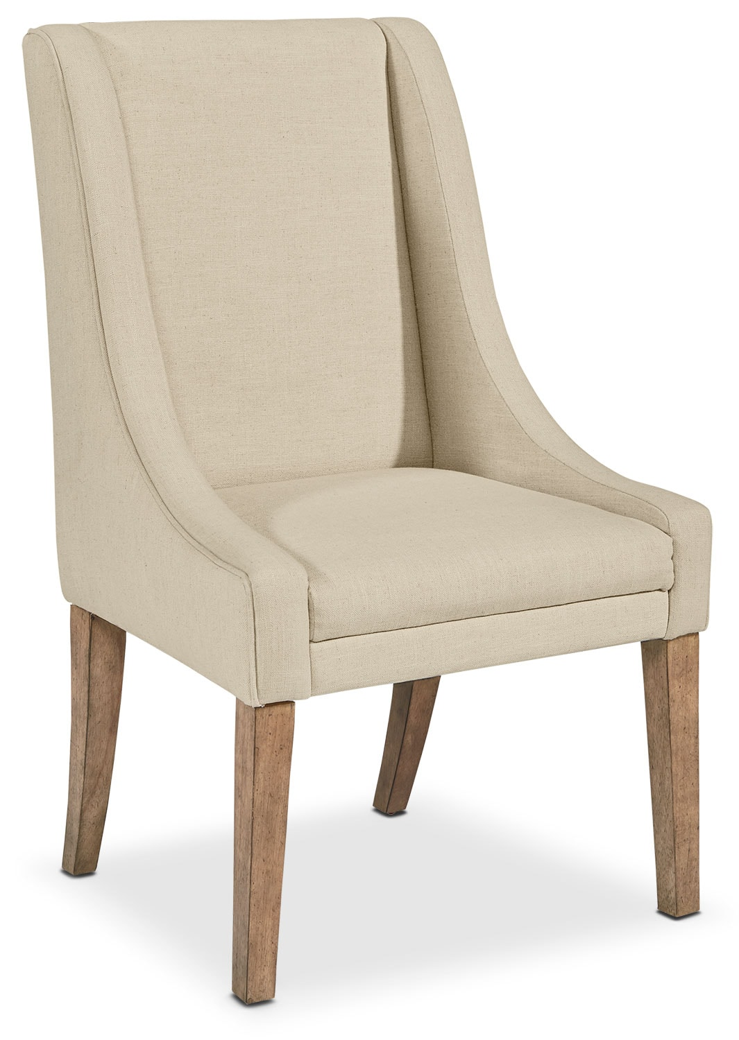 Dining Room Furniture - French Demi-Wing Upholstered Side Chair - Linen