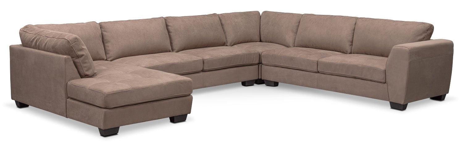 Living Room Furniture - Santana 4-Piece Sectional with Left-Facing Chaise - Taupe  sc 1 st  American Signature Furniture : taupe sectional - Sectionals, Sofas & Couches
