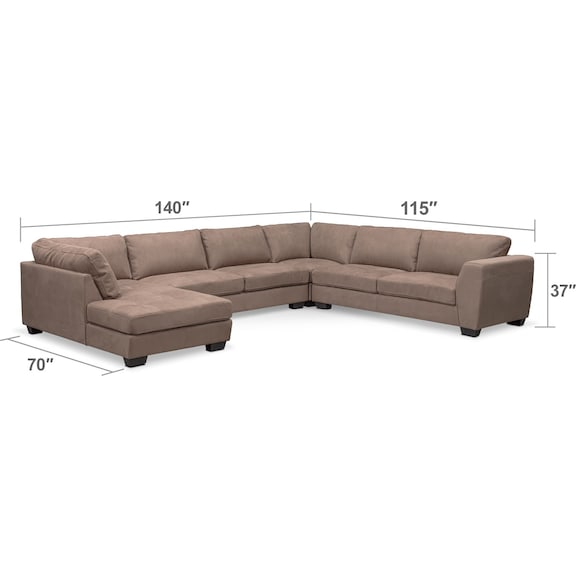 Living Room Furniture - Santana 4-Piece Sectional with Left-Facing Chaise - Taupe