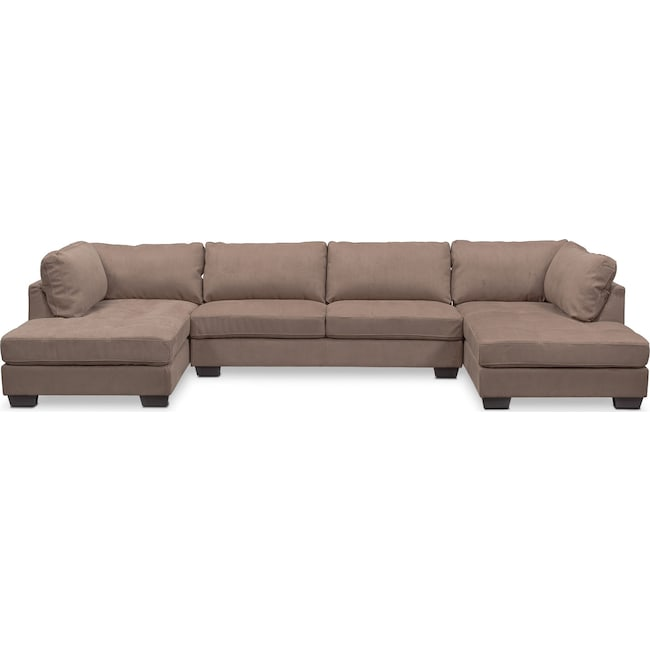Living Room Furniture - Santana 3-Piece Sectional - Taupe