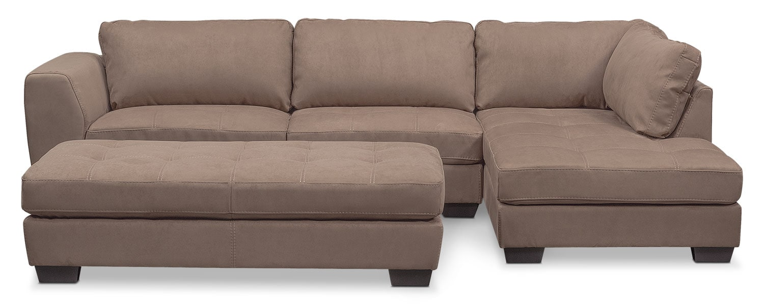 Living Room Furniture - Santana 2-Piece Sectional with Right-Facing Chaise and Cocktail Ottoman Set - Taupe