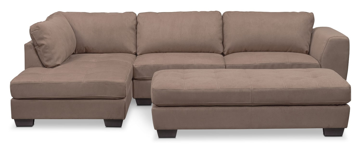 Living Room Furniture - Santana 2-Piece Sectional with Left-Facing Chaise and Cocktail Ottoman - Taupe
