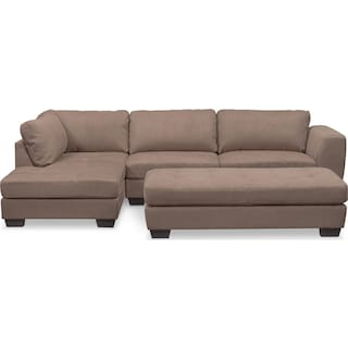 Santana 2-Piece Sectional with Left-Facing Chaise and Cocktail Ottoman Set - Taupe