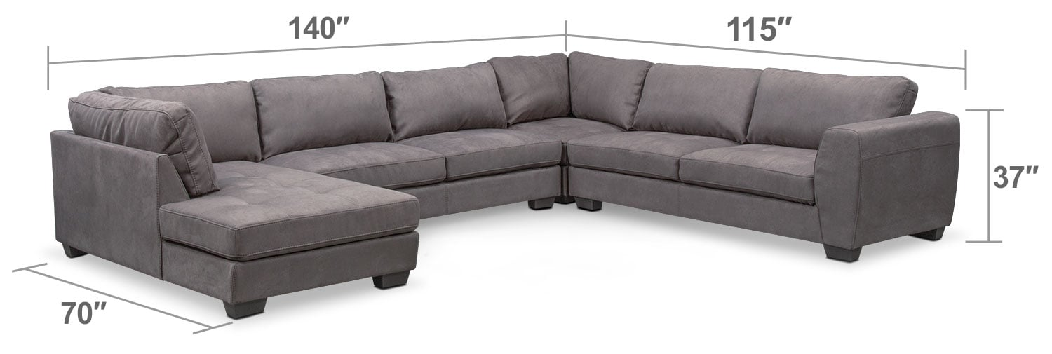 Living Room Furniture - Santana 4-Piece Sectional with Left-Facing Chaise - Slate
