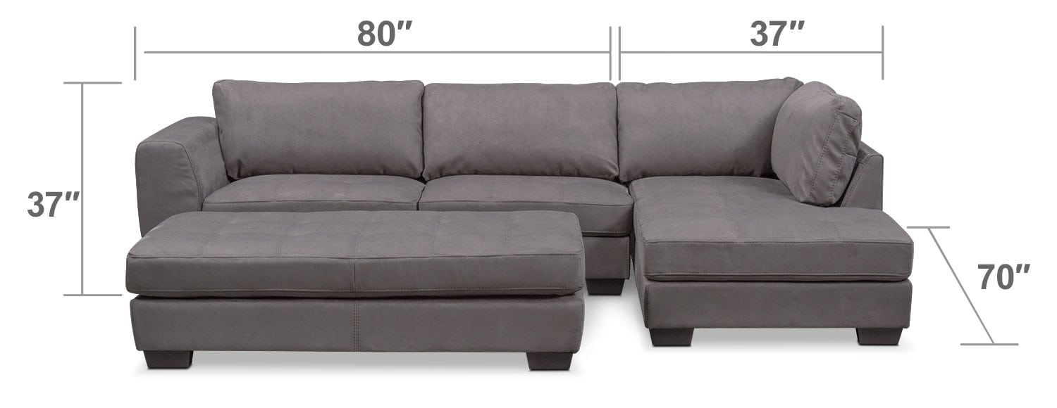 Living Room Furniture - Santana 2-Piece Sectional with Right-Facing Chaise and Cocktail Ottoman Set - Slate