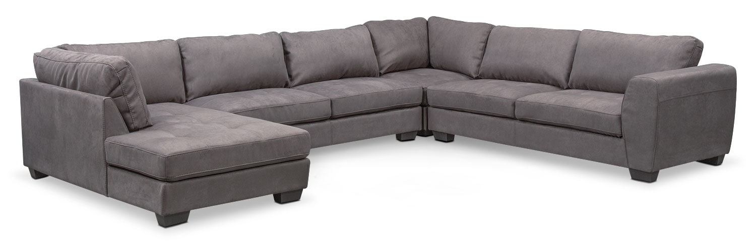 Santana 4-Piece Sectional with Left-Facing Chaise - Slate  sc 1 st  American Signature Furniture : 4 piece sectional with chaise - Sectionals, Sofas & Couches