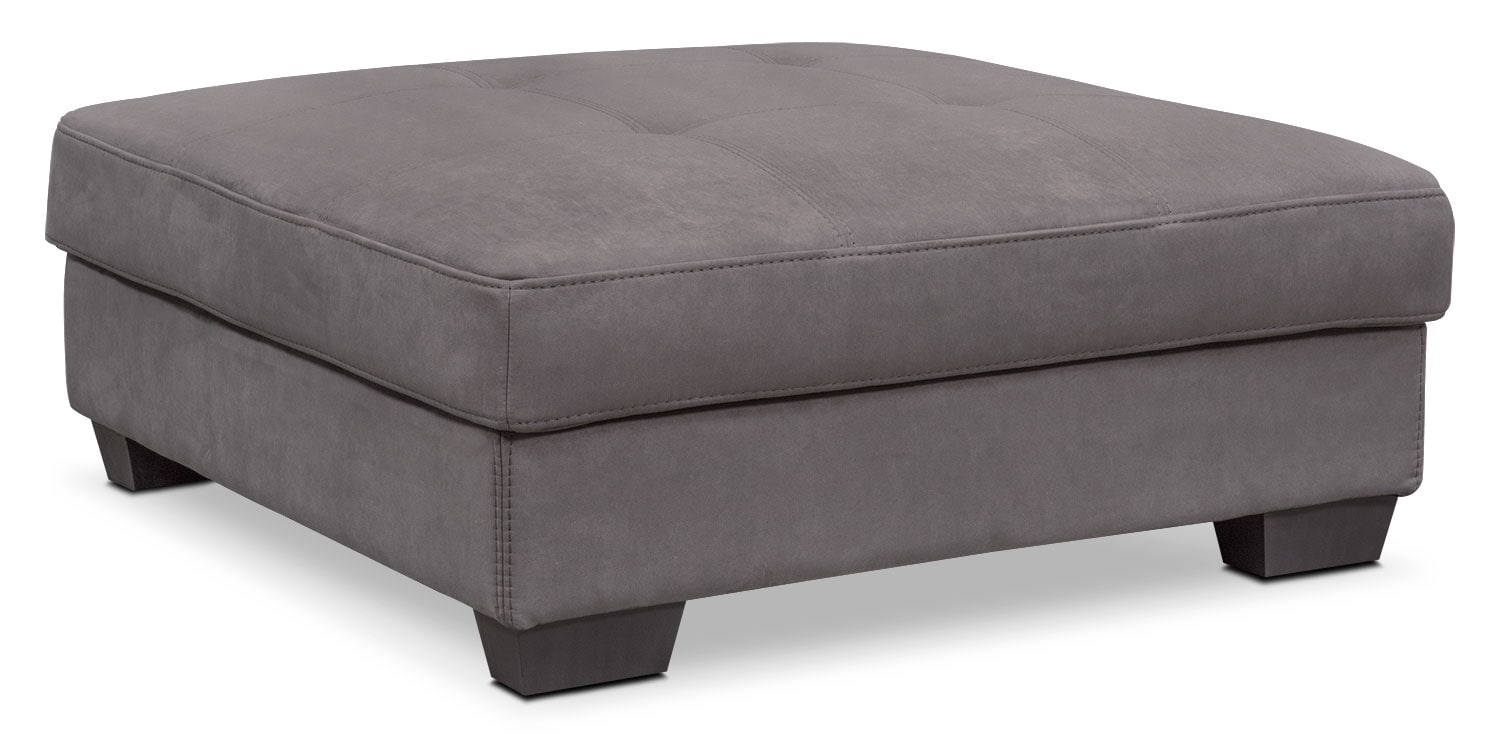 Living Room Furniture - Santana Storage Ottoman - Slate