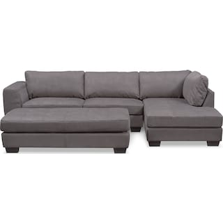 Santana 2-Piece Sectional with Right-Facing Chaise and Cocktail Ottoman Set - Slate