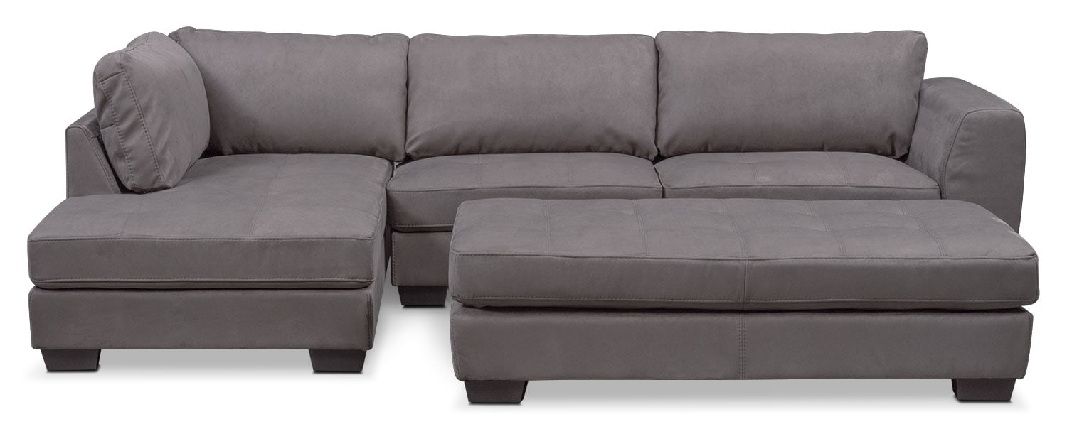 Santana 2-Piece Sectional with Left-Facing Chaise and Cocktail Ottoman Set - Slate