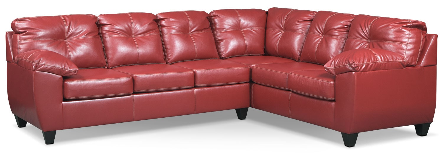 Rialto 2-Piece Sectional with Left-Facing Innerspring Sleeper - Cardinal