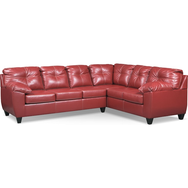 Living Room Furniture - Ricardo 2-Piece Innerspring Sleeper Sectional with Right-Facing Sofa - Cardinal