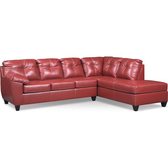 Living Room Furniture - Ricardo 2-Piece Sectional with Right-Facing Chaise - Cardinal