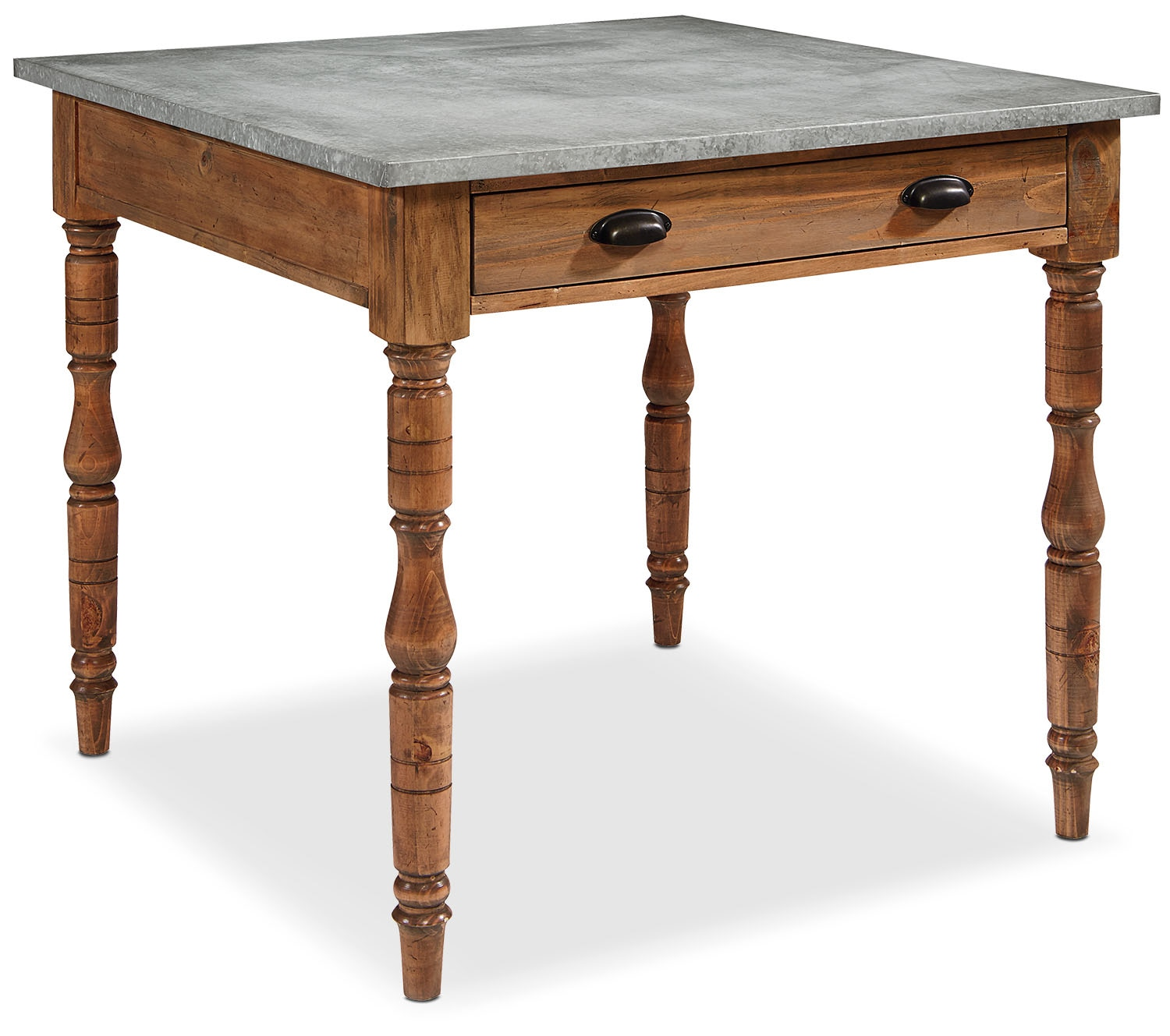 Dining Room Furniture - Taper Turned Gathering Table with Zinc Top - Bench