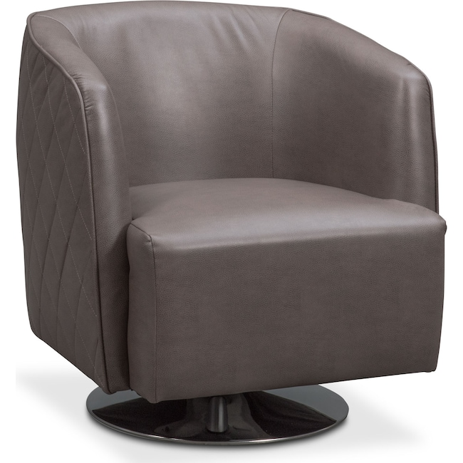 Living Room Furniture - Santana Swivel Chair - Gray