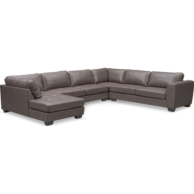 Santana 4-Piece Sectional with Left-Facing Chaise - Gray ...