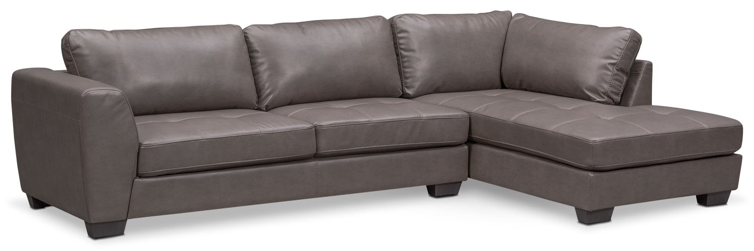 living room furniture santana 2piece sectional with rightfacing chaise gray - 2 Piece Sectional
