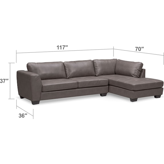 Living Room Furniture - Santana 2-Piece Sectional with Right-Facing Chaise and Cocktail Ottoman Set - Gray