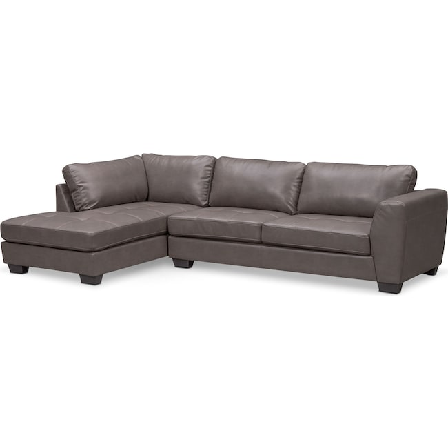 Living Room Furniture - Santana 2-Piece Sectional with Left-Facing Chaise - Gray