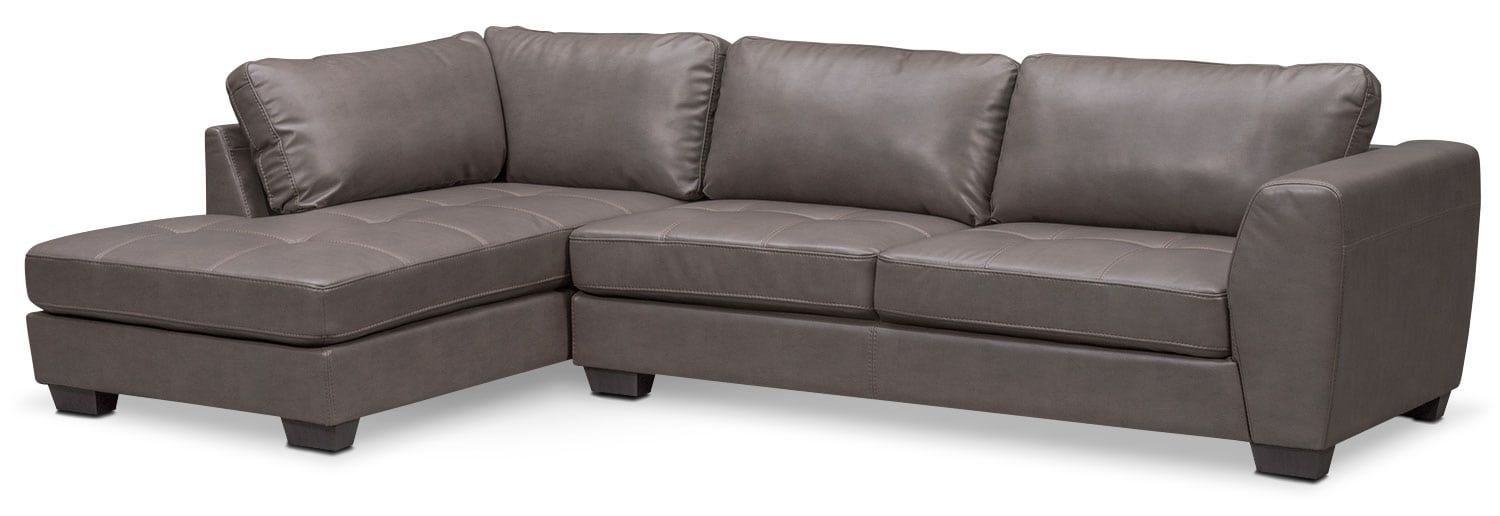 Living Room Furniture - Santana 2-Piece Sectional with Left-Facing Chaise - Gray  sc 1 st  American Signature Furniture : american signature sectional - Sectionals, Sofas & Couches