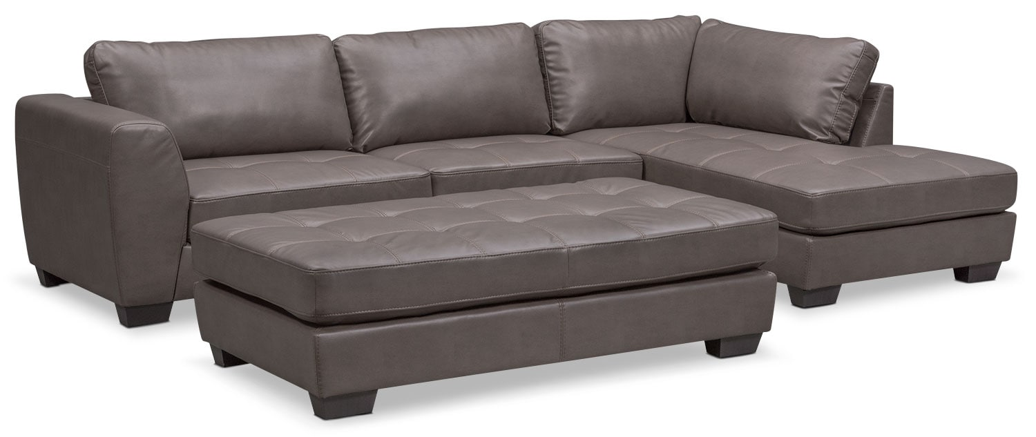 Santana 2-Piece Sectional with Right-Facing Chaise Plus FREE Cocktail Ottoman - Gray