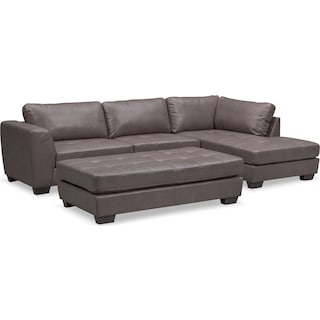 Santana 2-Piece Sectional with Right-Facing Chaise and Cocktail Ottoman Set - Gray