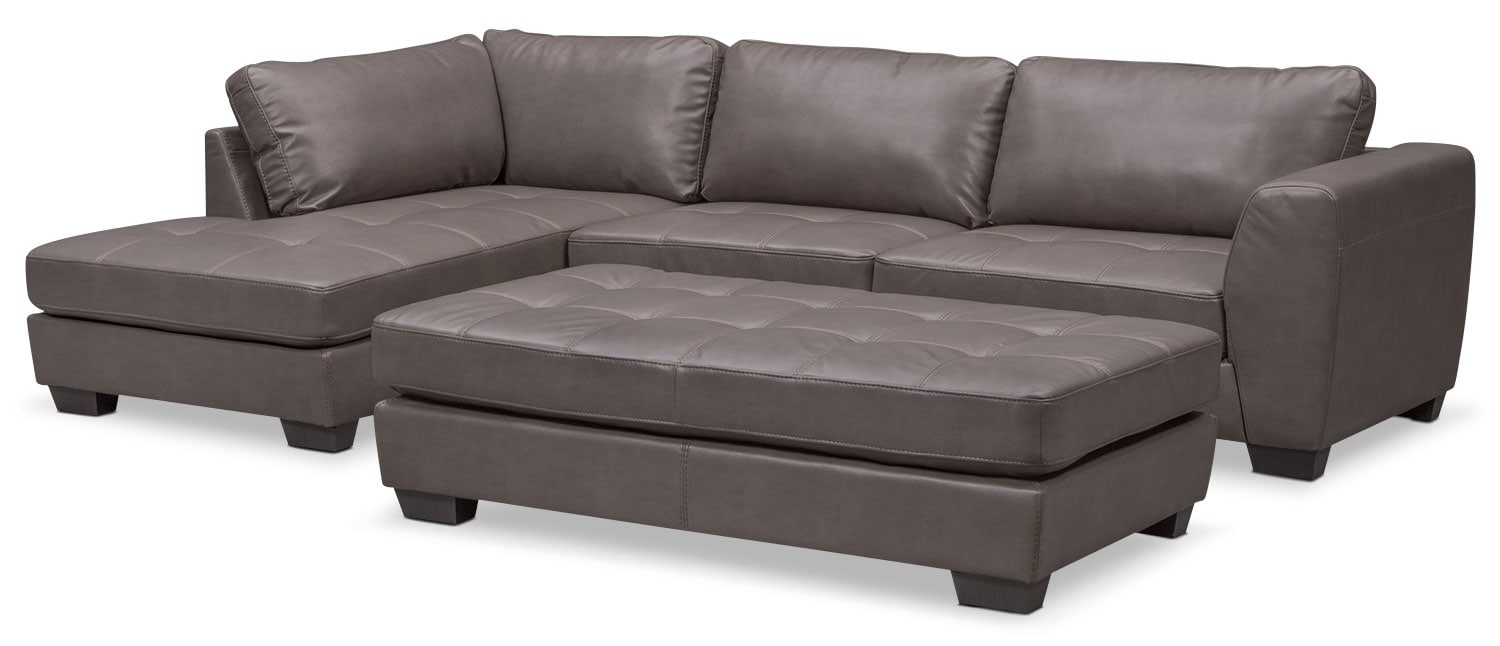 Santana 2-Piece Sectional with Left-Facing Chaise Plus FREE Cocktail Ottoman - Gray