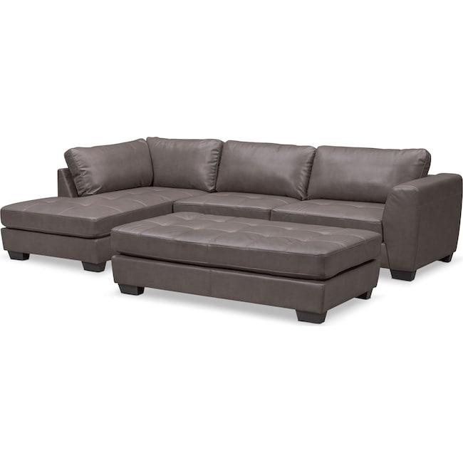 Living Room Furniture - Santana 2-Piece Sectional with Left-Facing Chaise and Cocktail Ottoman Set - Gray
