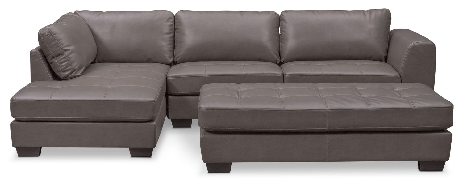 Santana 2 Piece Sectional With Left Facing Chaise And Cocktail Ottoman Set    Gray