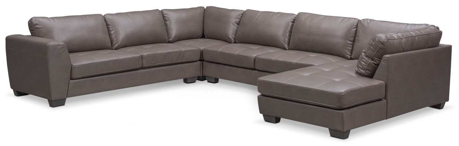 Santana 4-Piece Sectional with Right-Facing Chaise - Gray