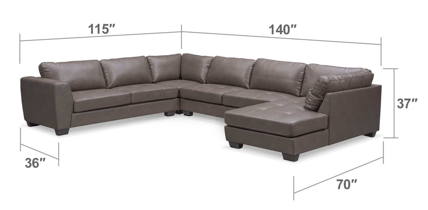 Living Room Furniture - Santana 4-Piece Sectional with Right-Facing Chaise - Gray