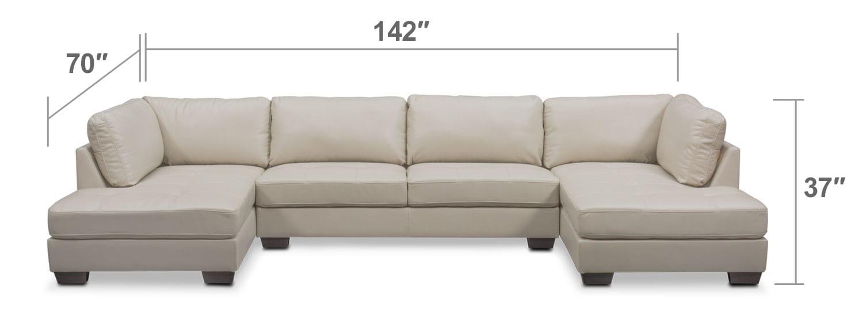 Living Room Furniture - Santana 3-Piece Sectional - Ivory