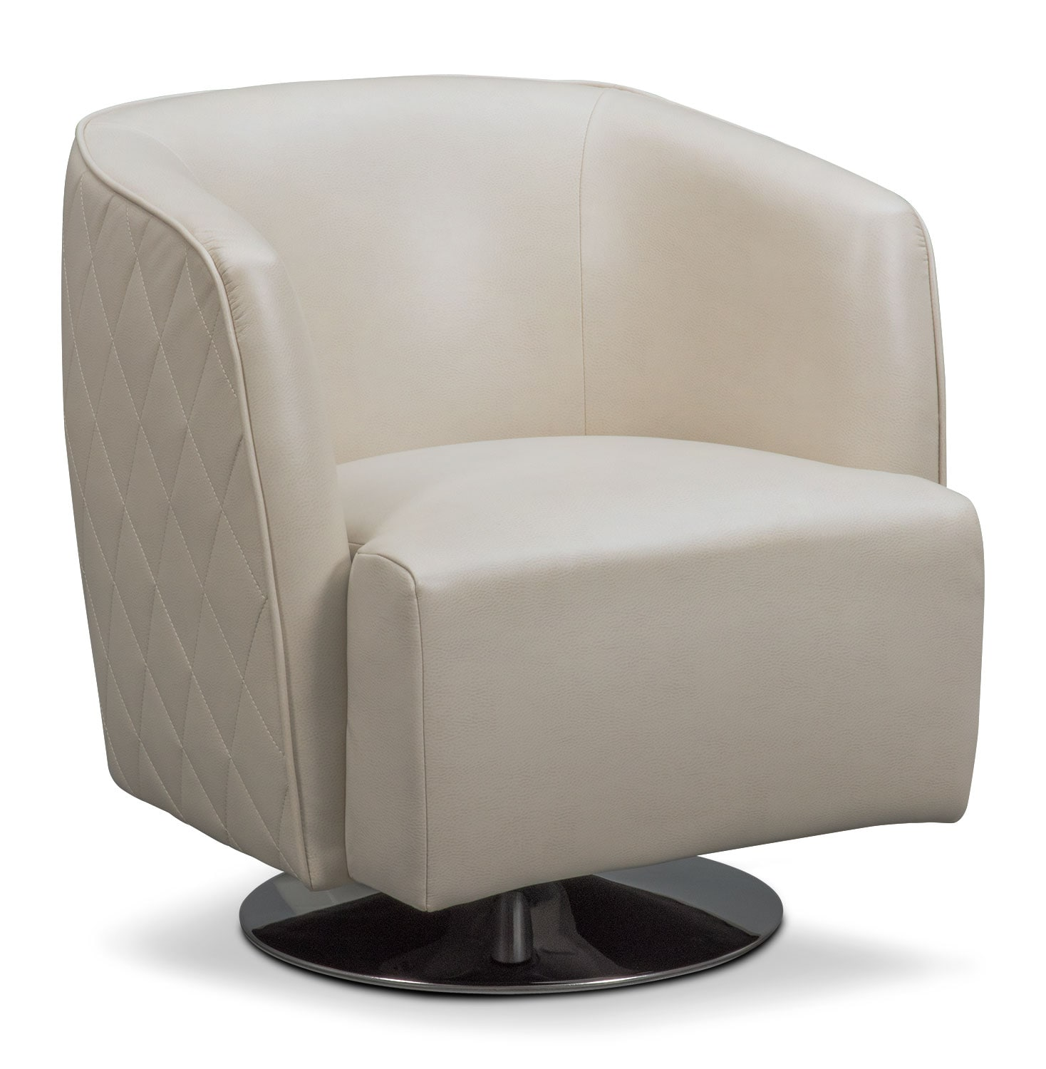 Living Room Furniture - Santana Swivel Chair - Ivory