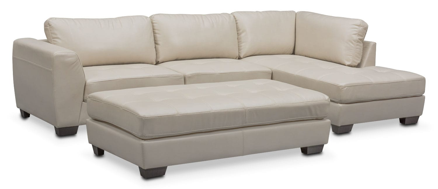 Gentil Santana 2 Piece Sectional With Right Facing Chaise And Cocktail Ottoman Set    Ivory