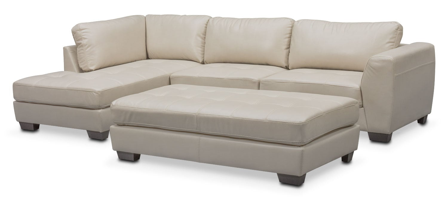 Living Room Furniture - Santana 2-Piece Sectional with Left-Facing Chaise and Cocktail Ottoman - Ivory