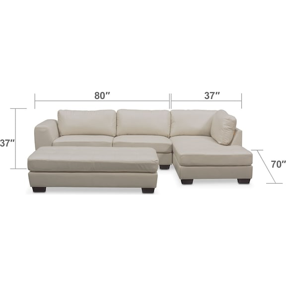 Living Room Furniture - Santana 2-Piece Sectional with Right-Facing Chaise and Cocktail Ottoman Set - Ivory