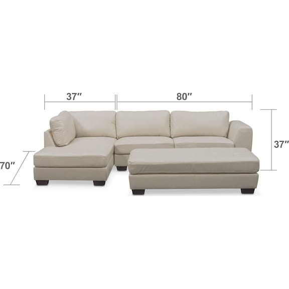 Living Room Furniture - Santana 2-Piece Sectional with Left-Facing Chaise and Cocktail Ottoman Set - Ivory