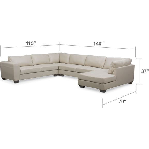 Living Room Furniture - Santana 4-Piece Sectional with Right-Facing Chaise - Ivory