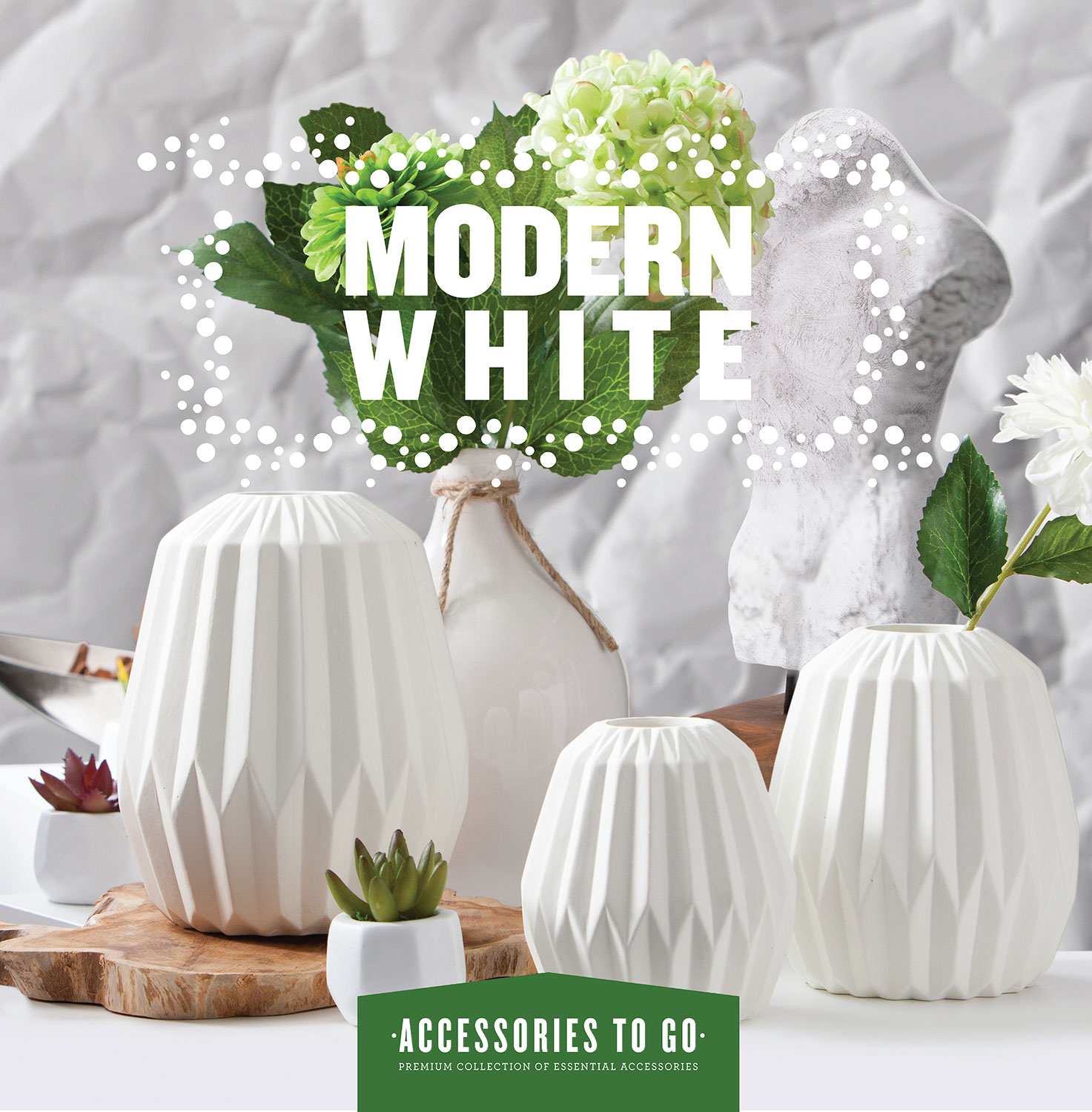 Home Accessories - Modern White 14-Piece Accessory Set