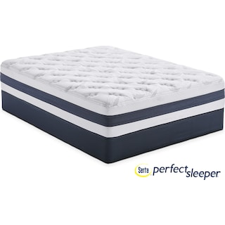Landing Manor Plush King Mattress and Split Low-Profile Foundation Set