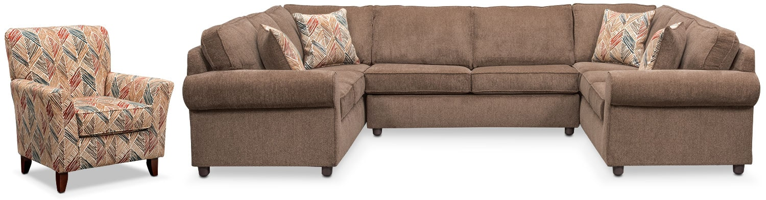Living Room Furniture - Lakelyn 3-Piece Sectional and Accent Chair - Cocoa
