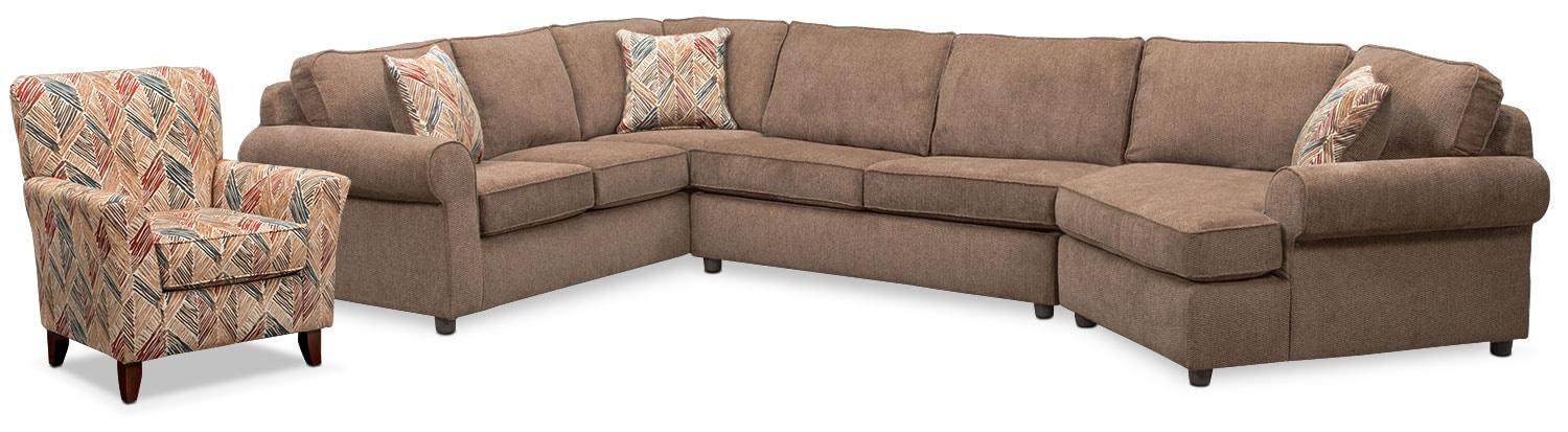 Lakelyn 3-Piece Sectional with Right-Facing Cuddler and Accent Chair - Cocoa