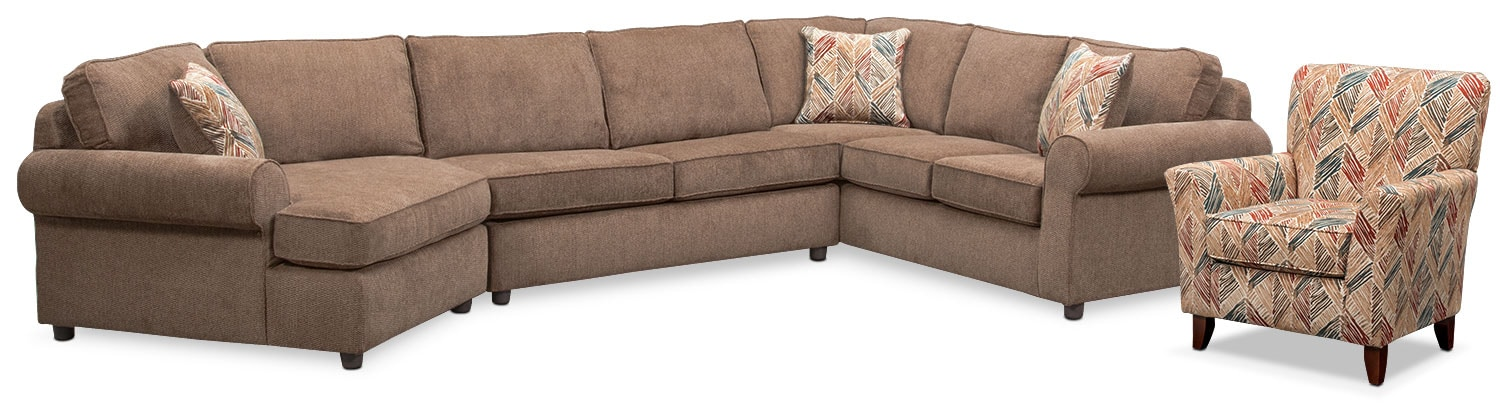 Lakelyn 3-Piece Sectional with Left-Facing Cuddler and Accent Chair - Cocoa