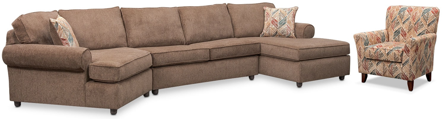 Lakelyn 3-Piece Sectional with Left-Facing Cuddler, Right-Facing Chaise and Accent Chair - Cocoa