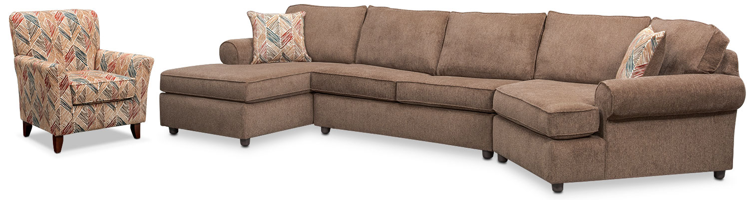 Living Room Furniture - Lakelyn 3-Piece Sectional with Left-Facing Chaise, Right-Facing Cuddler and Accent Chair - Cocoa